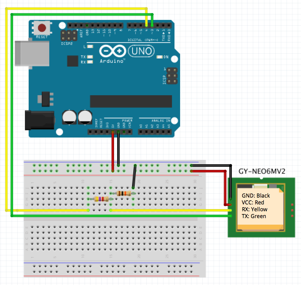 Neo6mv2 Gps Module With Arduino Code Is Poetry Wiring Uno That Means You Simple Connect The 5v Power Vcc And Ground Of Your Directly To Receiver Same Goes For Tx Green Wire