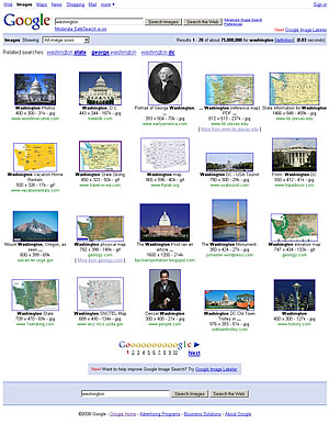 Google search for Washington without face attribute
